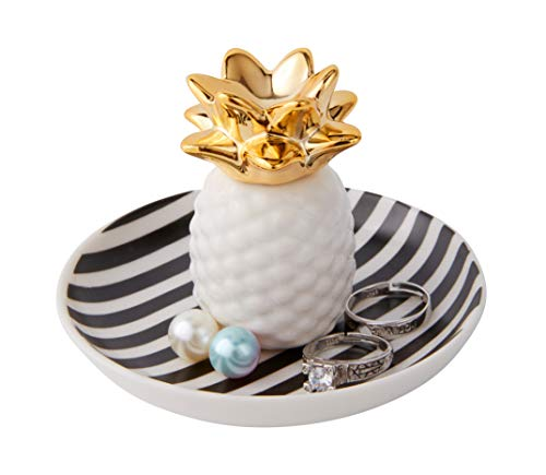 Jojuno Ceramic Pineapple Ring Holder Ananas Jewelry Dish Decor Jewelry Organizer, Jewelry Tray, Pineapple Jewelry Plate