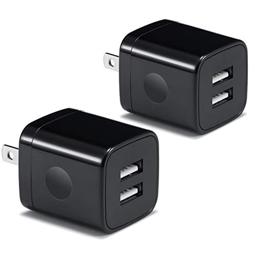 USB Wall Charger, BEST4ONE 2-Pack 2.1A/5V Dual Port USB Plug Power Adapter Charging Block Compatible with Phone XS XR X 8/7/6 Plus, Samsung, Google Pixel XL, Moto Z, Kindle, Android Phone -Black