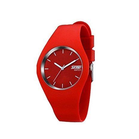 NEW Quartz Analog Waterproof Men's Women Watch Ladies Rubber Band Simple Wristwatch (Color: Red)