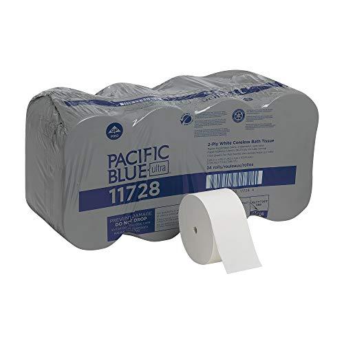 Pacific Blue Ultra Coreless Toilet Paper Refill by GP PRO (Georgia-Pacific), 11728, 1700 Sheets Per Roll, 24 Rolls Per Case, White