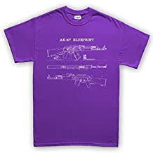 AK-47 AK-74 Rifle Gun SKS Soviet Yugo Sling Blueprint T Shirt 5XL Purple