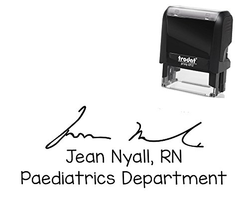 (Larger Self-Inking Stamp with Your Signature and 3 Lines for Your Address, Department Details Or Message Black Ink Stamper - Size 7/8