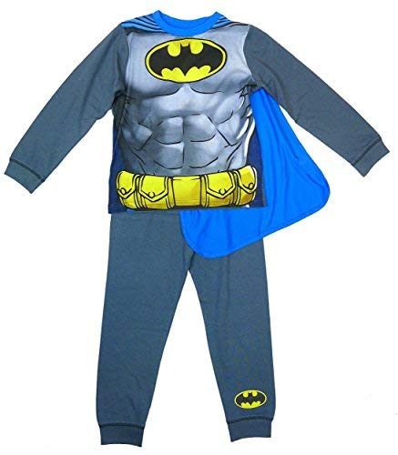 6c56e264df Bambino DC Comics Batman muscolare corpo - Pigiama con mantello misure da 2  a 8 anni