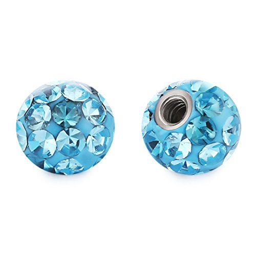 COTTVOTT 4mm(16G) 6mm(14G) 8mm(14G) Body Piercing Jewelry Replacement Screw Balls for Earrings Tongue Belly Rings (4mm Lake Blue)