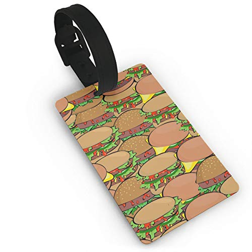 Diemeouk Luggage Tags for Suitcases Burger Yellow Food PVC Baggage Cards for Cruise Ships -