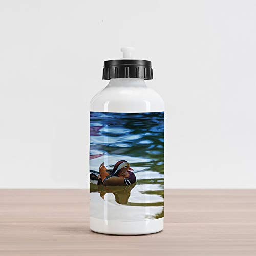 Ambesonne Africa Aluminum Water Bottle, Chinese Mandarin Ducks Sail in The River East Asian Winged Creature Peace Habitat, Aluminum Insulated Spill-Proof Travel Sports Water Bottle, Multicolor