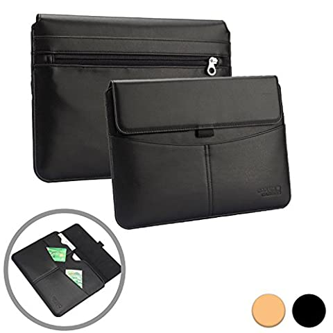 Dell Venue 11 Pro / 7000 sleeve case, COOPER ENVELOPE Business Travel Portfolio PU Leather Sleeve Pouch Carrying Case Bag Cover with Card Slot, Pocket & Stylus Holder (Black) - Braccio Dell'asta Asta Del Microfono