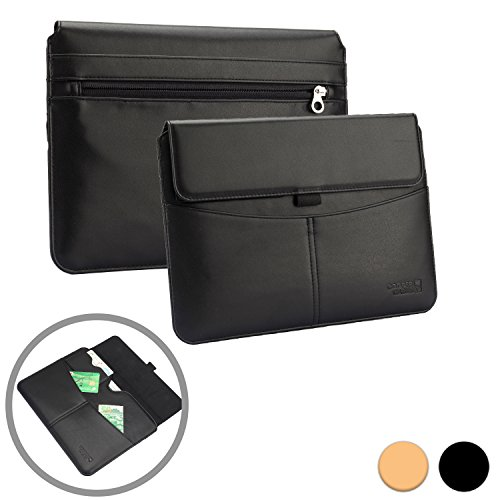 10 Executive Envelopes - 9-10.1 Tablet case Sleeve, Cooper Envelope [Premium Business Travel Portfolio] Executive Stylish Minimalist Protective Sleeve Tablets, Carrying Cover + Card Slots, Pocket, Stylus Holder (Black)