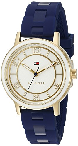Tommy Hilfiger Women's Quartz Silver and Gold and Silicone Casual Watch, Color:Blue (Model: 1781669)