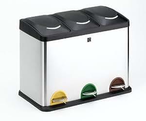 Iris - Cubo De Reciclaje Triple 2399I, Cubos Interiores De Plastico Extraibles, Sistema De Pedal Que Mantiene La Tapa Del Cubo Abierto/Cerrado Hasta Nueva Pulsacion, 60,5X34X48,5Cm. Inox.