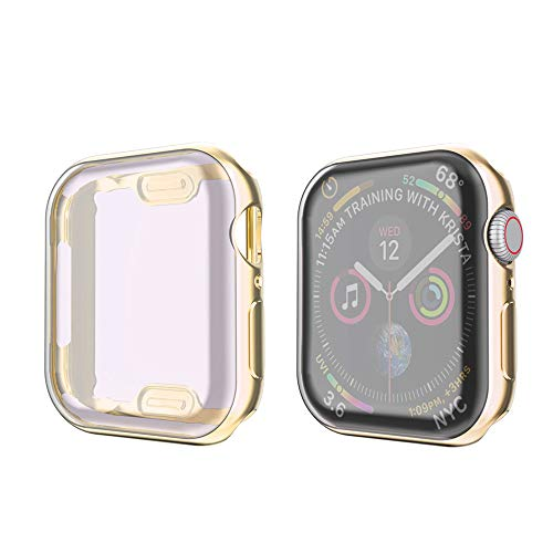 amBand Compatible for Apple Watch Series 4 Screen Protector 40mm, Full Cover TPU Case Bumper Compatible for iWatch Series 4 Gold