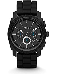 Men's Machine Quartz Stainless Steel and Silicone Chronograph Watch, Color: Black (Model: FS4487)