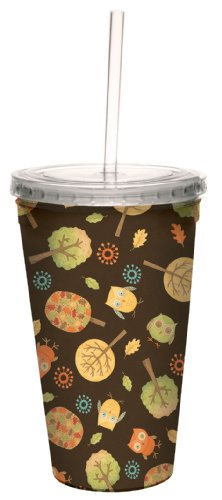 Tree-Free Greetings 80219 Owls and Trees by Debbie Mumm Artful Traveler Double-Walled Acrylic Cool Cup with Reusable Straw, 16-Ounce ()