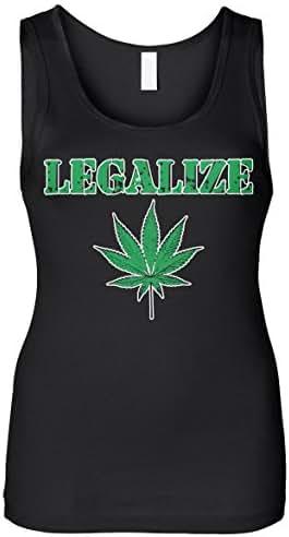 Cybertela Women's Legalize Weed Pot Leaf Slim Fit Tank Top