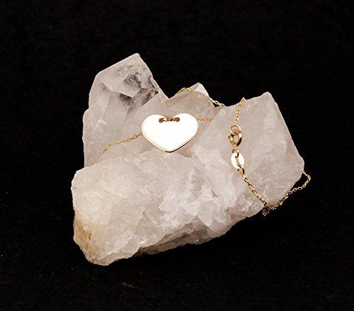 ASS en or jaune 585 en forme de cœur avec gravure plate avec chaîne de 16 mm