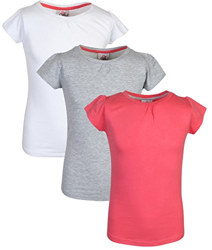 Real Love Girls' 3-Pack Crew Neck Short Sleeve Tee Shirts (14/16, White, Grey & Coral)'