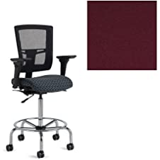 Office Master Affirm Collection AF513 Ergonomic Mid-Back Stool - JR-49 Armrests - Black Mesh Back - Grade 1 Fabric - Celestial Hyperion Red 1207 PLUS Free Ergonomics eBook