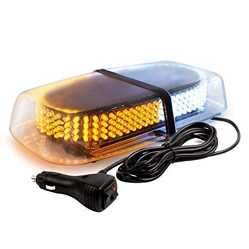 240 LED 7 Strobe Patterns Roof Top Beacon Caution Light, Law Enforcement Emergency Hazard Warning Flashing Strobe Light Mini Bar with Magnetic Base for 12V-24V (White/Amber)