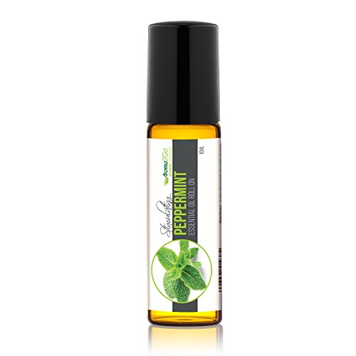 Aroma2Go Peppermint 10mL 100% Pure Plant Based Essential Oil Roll On | Steam Distilled | Therapeutic Grade Aromatherapy Roll On to give Energy and Alertness. Non GMO