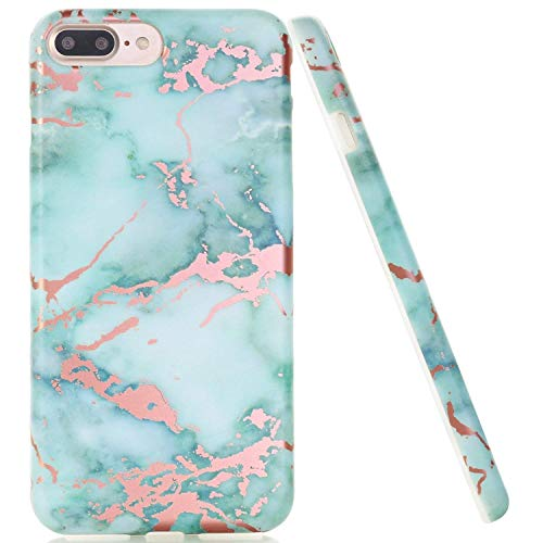 DOUJIAZ Compatible with iPhone 7 Plus Case,iPhone 8 Plus Case,Green Rose Gold Marble Design Clear Bumper TPU Soft Case Rubber Silicone Skin Cover for iPhone 7 Plus (2016) / iPhone 8 Plus (2017)