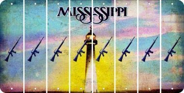 Bargain World Mississippi M16 Rifle Cut License Plate Strips (Set of 8) (Sticky Notes)