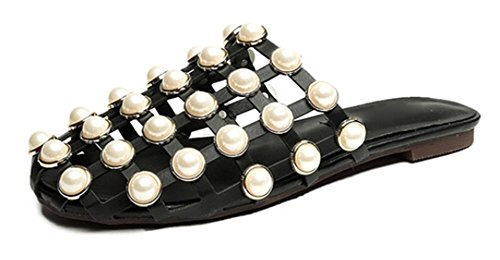 Xia Jiping Unterseite Persönlichkeit Perle Sandalen höhlen Stadtstreicherin-Sandalen und Pantoffeln black