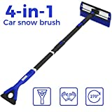 "JoyTutus 47"" Car Snow Brush, 4 in 1 Extendable Foam Snow Brush with Ice Scraper Squeegee, 270° Auto Car Snow Removal Broom, Detachable Car Snow Windshield Brush with Durable Gloves for Car SUV, Blue"