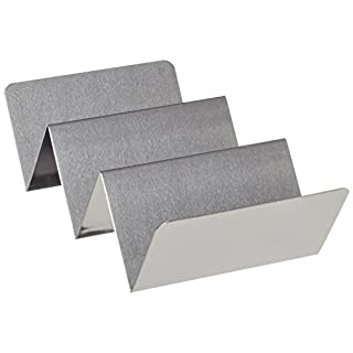 """American Metalcraft TSH3 Stainless Steel Taco Holder, 2-3 Compartments, 4"""" x 8"""", Silver"""