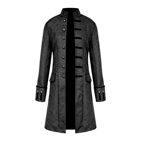 Evaliana 17th 18th Century Gothic Steampunk Medieval Jacquard Mandarin Collar Jacket Trench Coat Outwear Windbreake
