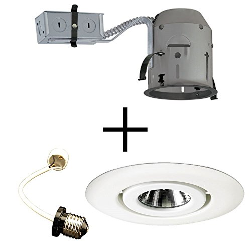 Juno Lighting TC1R & 440-WH, LINE VOLTAGE Combo 4-Inch TC rated Remodel Recessed Housing with Flush Gimbal Ring Trim, ()