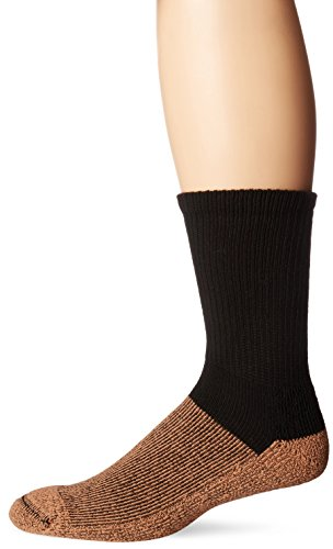 Copper Sole Men's Pro Therapy Cupron Crew Socks, Black, Shoe: 12.5-14