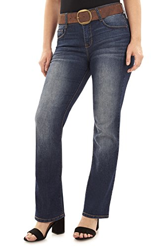 Angels Women's Belted Curvy Bootcut Jeans In Cypress - Jeans Belted Wide