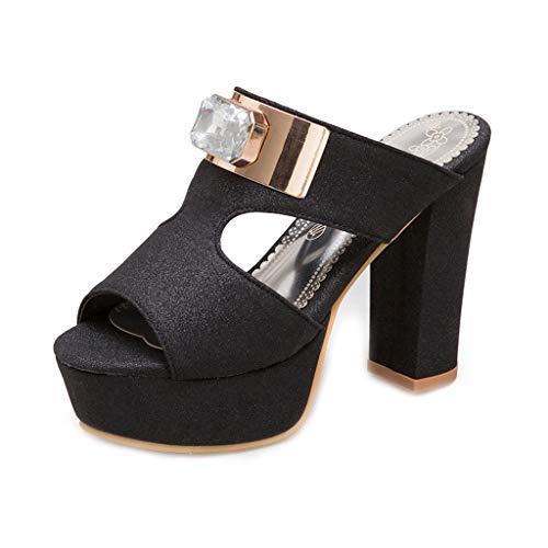 MIOKE Women Glitter Platform Block High Heel Sandals Sexy Peep Toe Comfort Chunky Wedge Dress Pump Sandal - Pumps Peep Knotted Toe