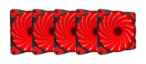 APEVIA AF512L-SRD 120mm Red LED Ultra Silent Case Fan w/ 15 LEDs & Anti-Vibration Rubber Pads (5-pk)