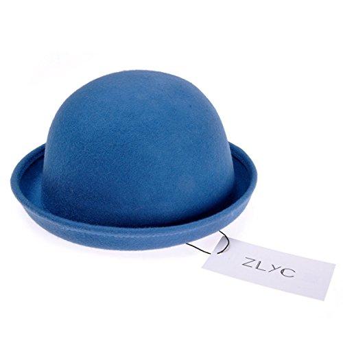 ZLYC Women Wool Fashion Winter Felt Roll Brim Billycock Cloche Bucket Bowler Hat Blue