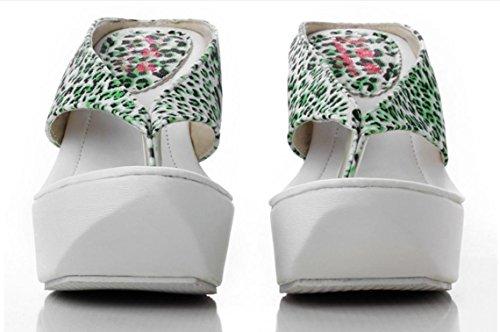 Sandali donne di grandi YCMDM'S infradito impermeabili dei pattini della piattaforma tacco alto , green , 34