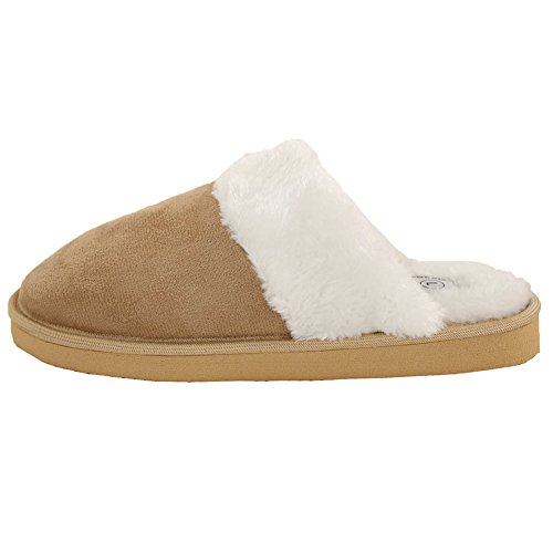 Easy Usa Women Furry Comfort Muilezels Pantoffels Tan