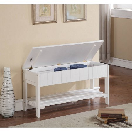 Quality Solid Wood Shoe Bench with Storage, Multiple Colors Available, Lobby, Outdoors + Expert Guide (White)