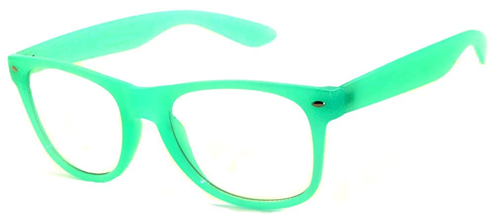 Vintage Sunglasses Retro Style Turquoise Frame with Clear Lens for Women OWL
