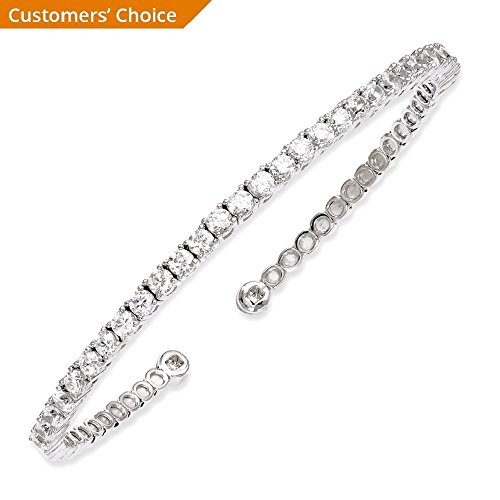 IceCarats 925 Sterling Silver Cubic Zirconia Cz Cuff Bracelet Bangle by ICE CARATS (Image #3)
