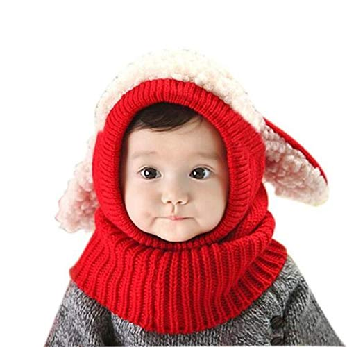 Baby Girls Boys Winter Warm Hats Scarf with Cute Ear Flaps Hood Scarves + Caps for 6-36 Months