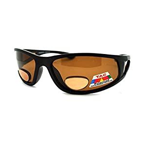 Mens Wrap Around Sport Sunglasses Polarized Plus Bifocal Reading Lens Black (black (brown), 2.00)