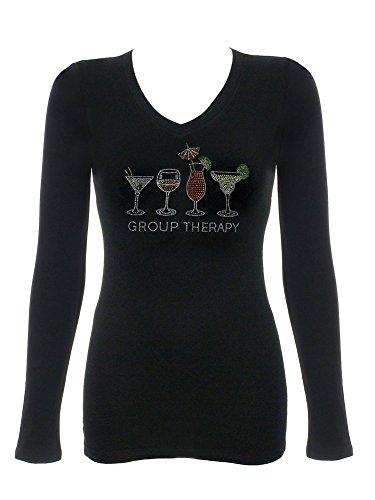 T-shirt Rhinestone Ladies - Women's Group Therapy Rhinestone Bling T-Shirts Black 1X