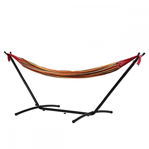 Price comparison product image Double Hammock With Space Saving Steel Stand Includes Portable Carrying Case M32