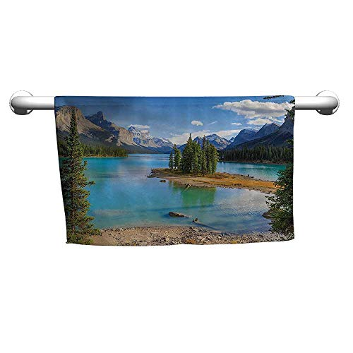 Floral Hand Towels Lake House Decor Collection,Maligne Lake in Jasper Natioanal Park,Alberta,Canada Summer Day Outdoor Picture,Green Blue,Beach Towel for Women