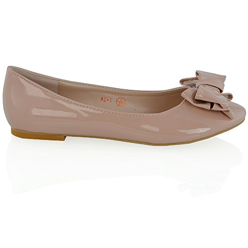 Essex Glam Damesslip Over Balletpumps Met Strik Detail Platte Ronde Neus Ballerinas Nude Patent
