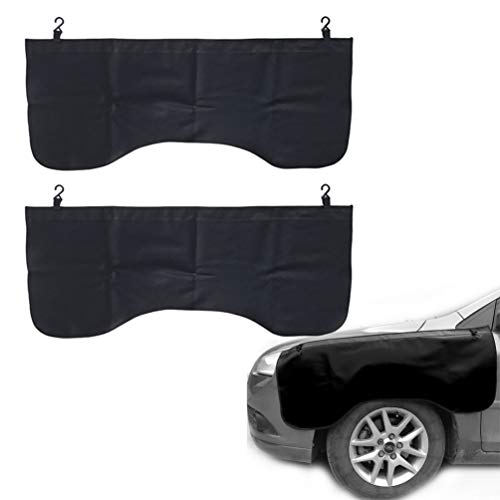 Pack of Two, Black Automotive Magnetic Leather Fender Protector Side Fender Cover Wing Cover Car Gripper Mechanic Work Mat Pad, 43.3inch x 17.7inch (Leather Fender Cover For Car)
