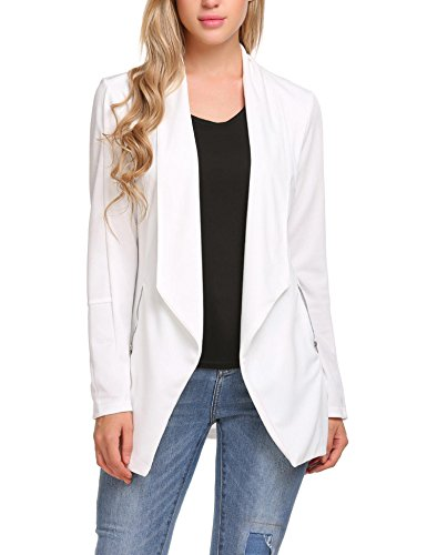 - ELESOL Women Long Sleeve Open Front Asymmetrical Hem Casual Blazer Oversize Zipper Suit Coat Jacket Outwear White/XL