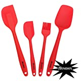 Homdox Premium 4 Piece Heat Resistant Silicone Cooking Set , Including 2 Silicone Spatulas 1 Baking Spoon and 1 Silicone Brush (Red)