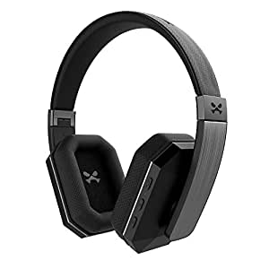 Wireless Bluetooth Headphones, Ghostek soDrop 2 Series aptX Over-Ear Headset with Noise Reduction, Bluetooth 4.0, HD Sound, Built-in Microphone, Hands-Free, Brushed Aluminum & Leather (Black)